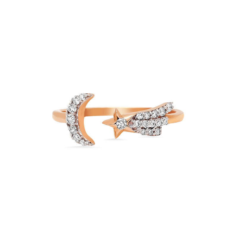Diamond Crescent Moon Starburst Ring