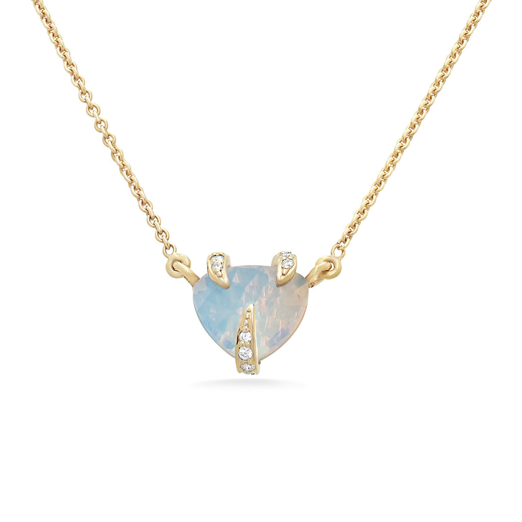 Three Claws Moonstone Trillion Cut Necklace