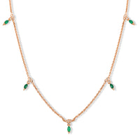 Diamond Emerald Marquise Cut Necklace