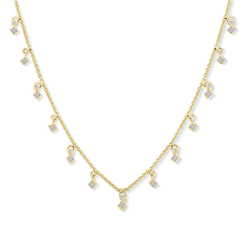 White Diamond Baguette Dangling Necklace