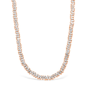 White Diamond Clustered Baguette Necklace