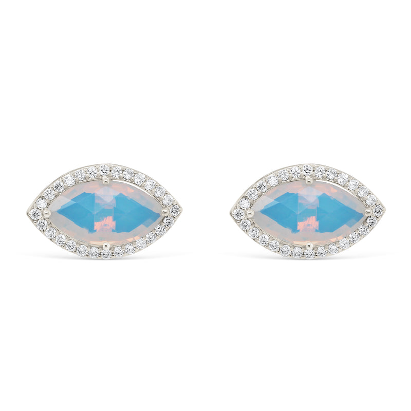 Diamond Marquise Moonstone Studs