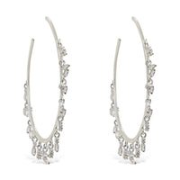 White Diamond Baguette Charms Hoops