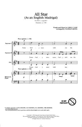 All Star (As an English Madrigal) SSA - Arr. Nathan Howe