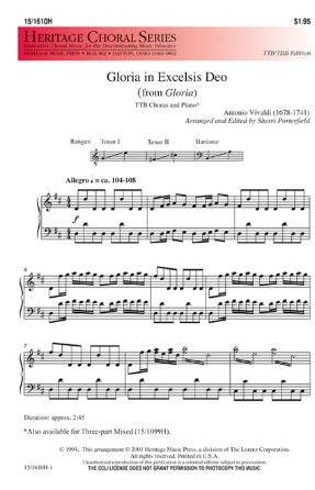 Gloria in Excelsis Deo (from Gloria) TTB - Vivaldi, arr. Sherri Porterfield