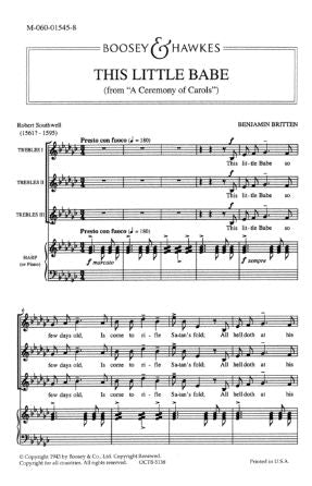 This Little Babe SSA (A Ceremony Of Carols) - Benjamin Britten