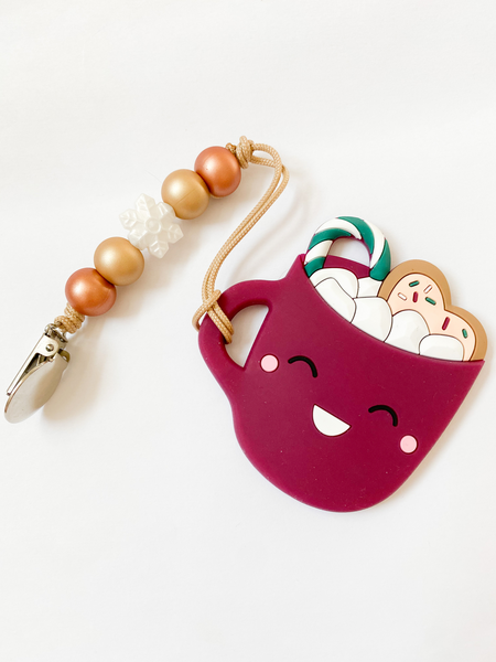 RTS Holiday: Maroon Mug + Snowflake Mini Clip