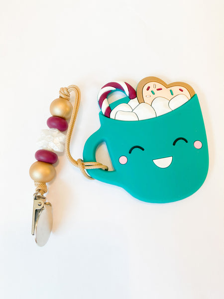 RTS Holiday: Teal Mug Teether + Mini Clip