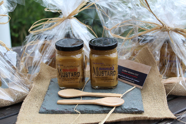 Momma's Gift Package - 2 mustards, 2 mini-wooden spoons, 4x6 slate charcuterie board