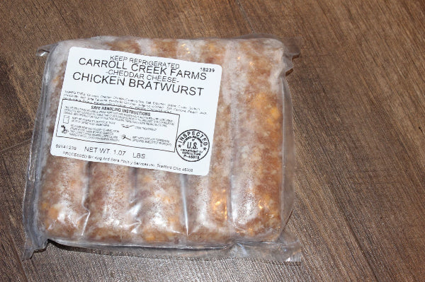Pasture Raised Cheddar Chicken Bratwurst 0.95-1.1 lbs 5 bratwurst
