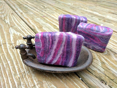 Vanilla Lavender Omega-3 Enriched Milk and Honey Felted Soap