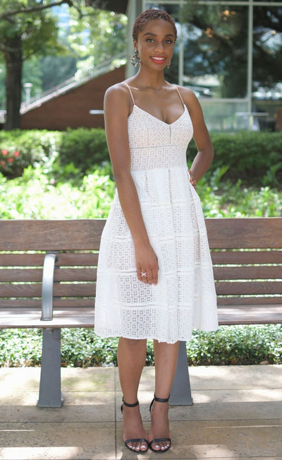 Nude and White Lace Fit and Flare Dress | When & Wear
