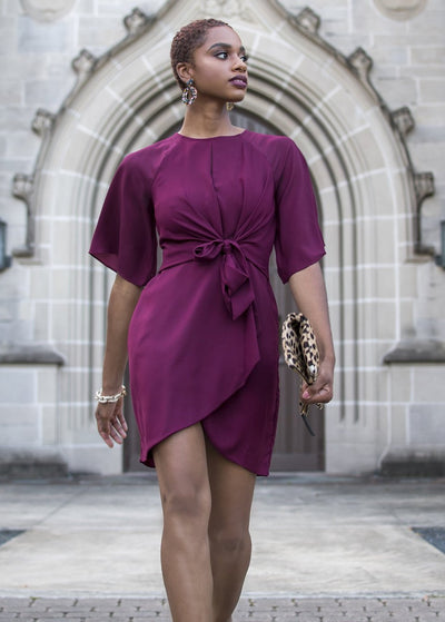 Cranberry Tie Waist Dress | When & Wear | Front View