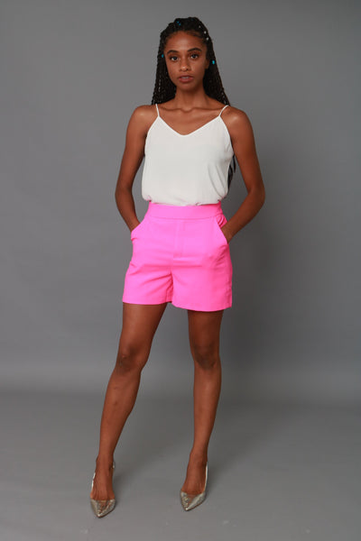 Neon Pink Structured Suit Shorts