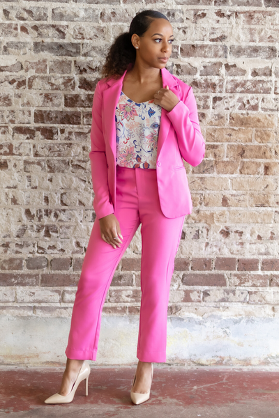 Womens Single Button Pink Blazer | When & Wear
