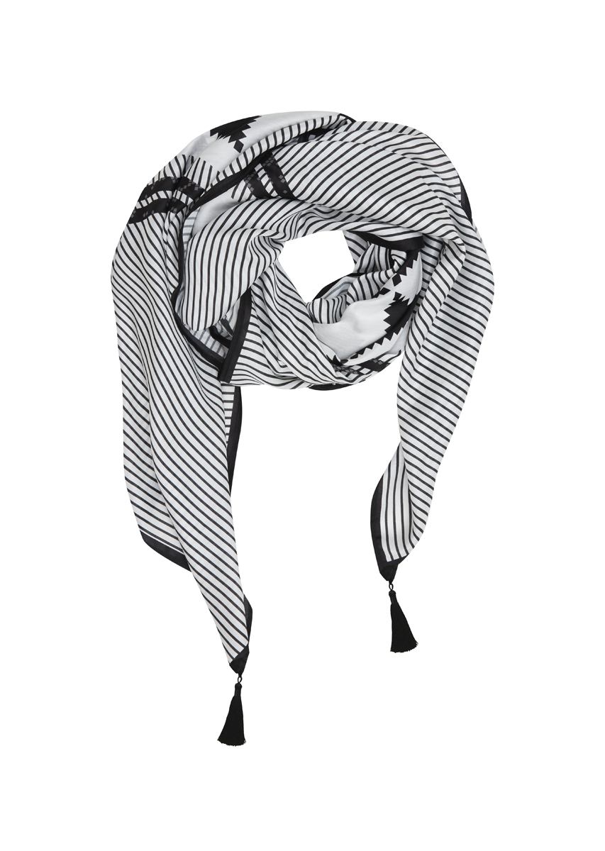 'Try My Angle' Scarf - Black with Grey Stripe - BESONNEN mindful fashion sustainable