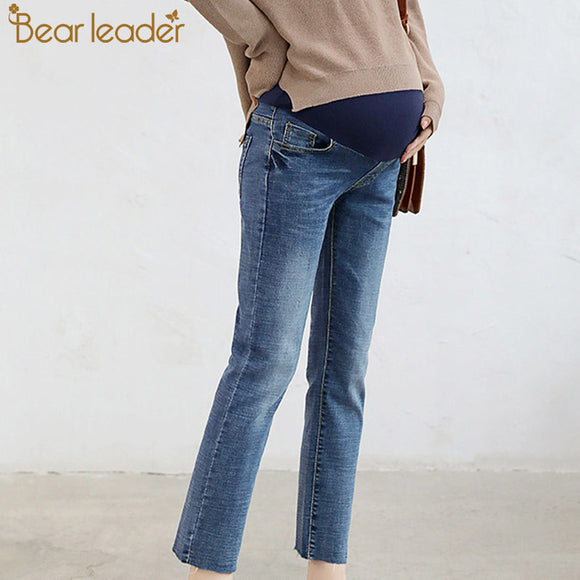 0b8538cab5e8e Bear Leader Maternity Jeans For Pregnant Women Trousers Pregnancy Winter  Warm Blue Jeans Suitable Maternity Belly