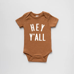 The Oyster's Pearl - Camel Organic Hey Y'All Baby Bodysuit