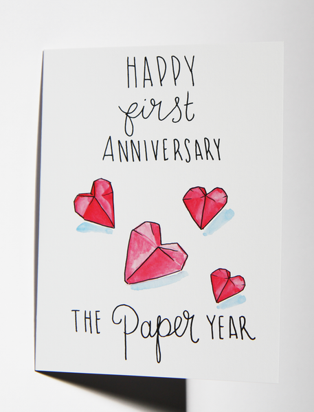 First Married Anniversary Paper Hearts Card