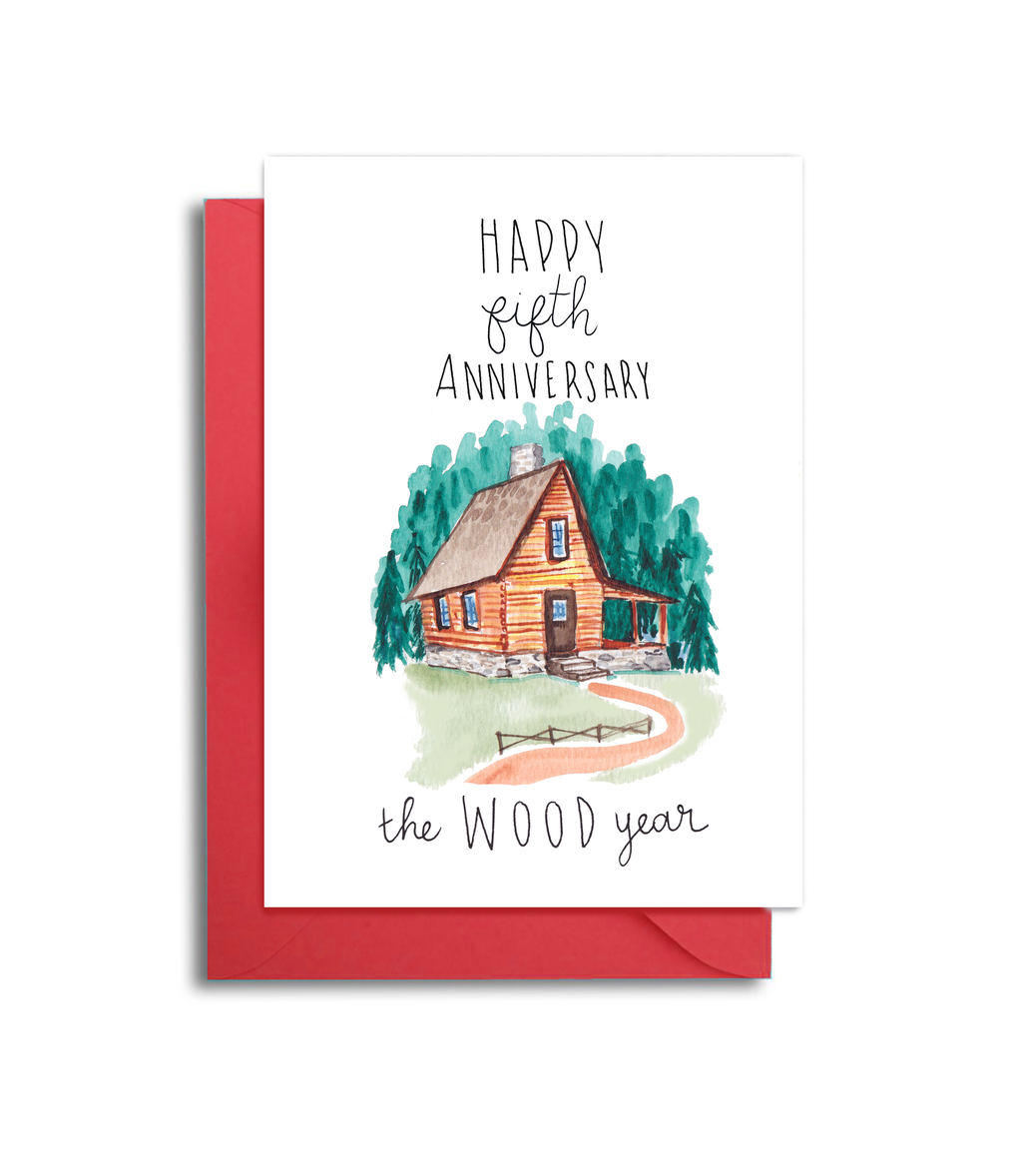 5th Wedding Anniversary Card - Wood Themed Anniversary Card - 5th Anniversary Wood Themed Card