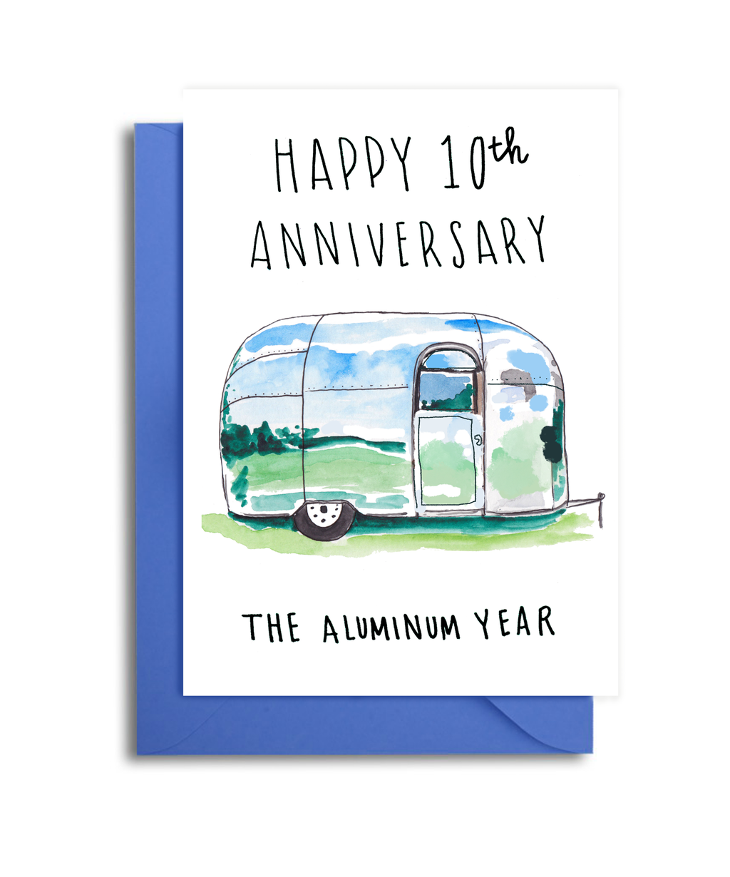 10th Anniversary Card - Aluminum Anniversary - 10th Wedding Anniversary Card for Husband