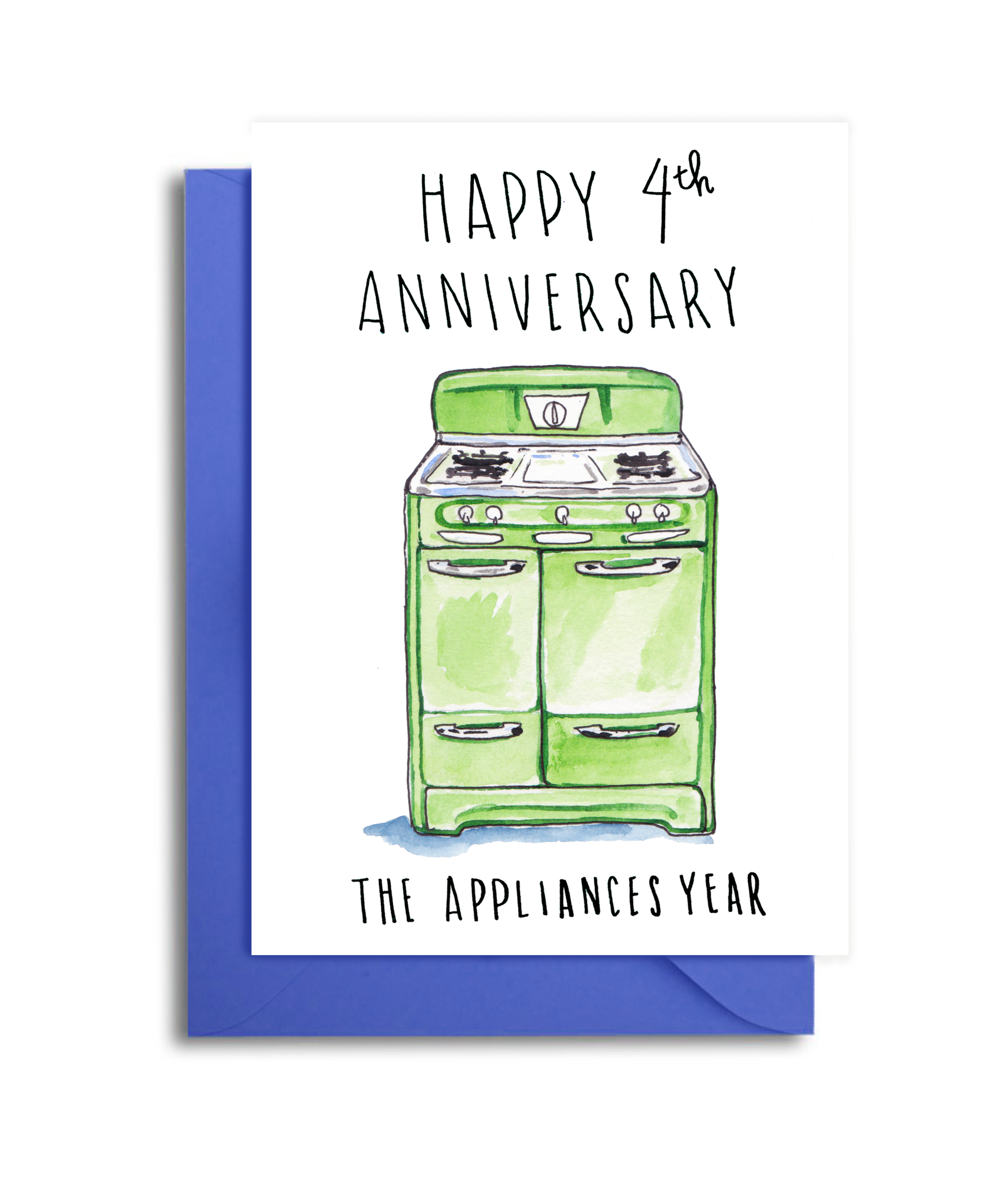 4th Wedding Anniversary Card - 4th Anniversary Appliances Themed Gift - Fourth Anniversary Vintage Stove Card