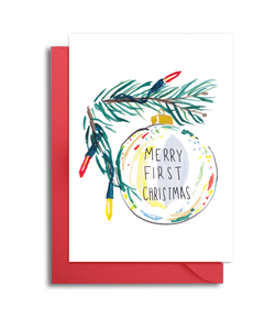 Merry First Christmas Ornament Card