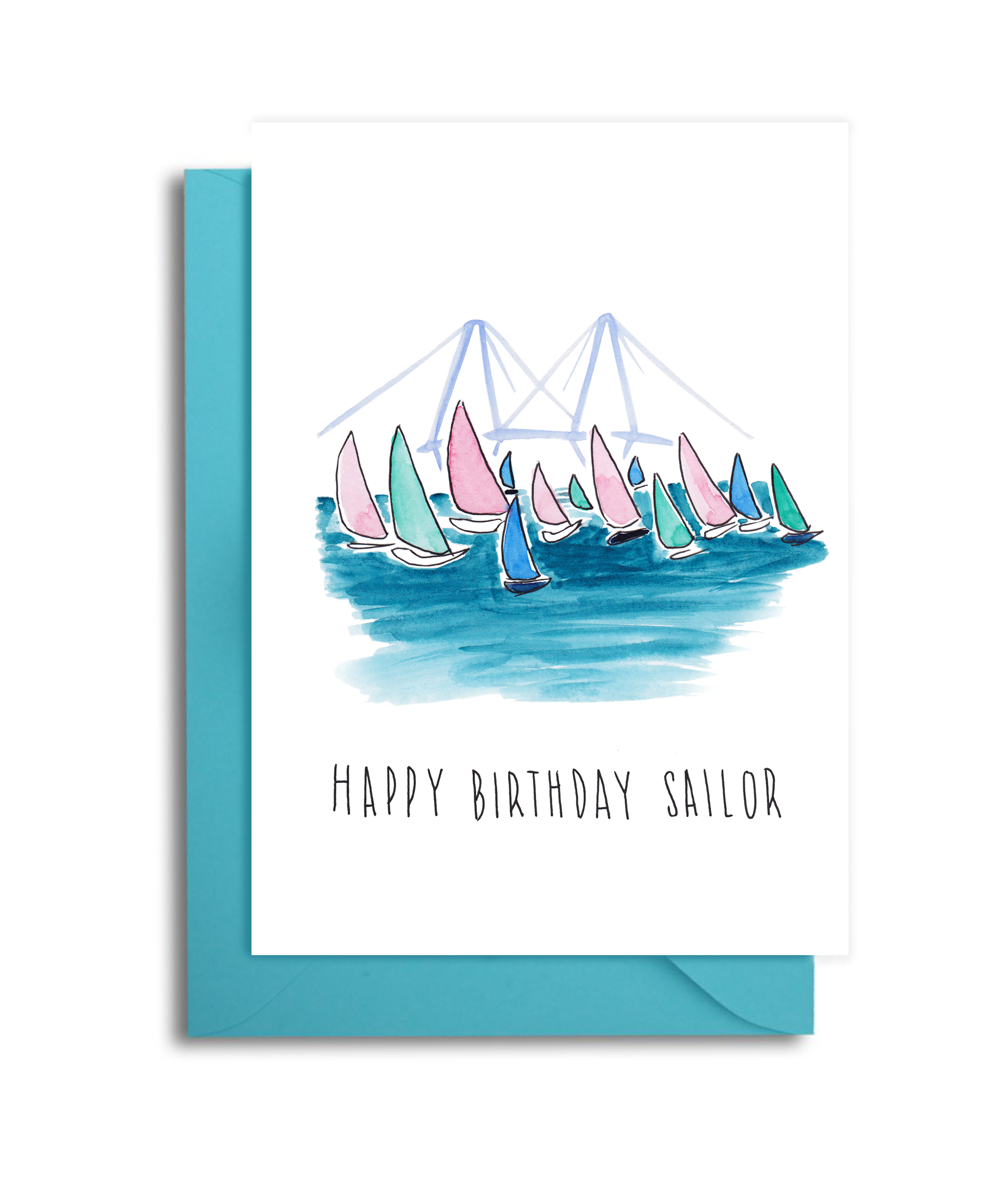 Charleston Harbor Sailing Birthday Card