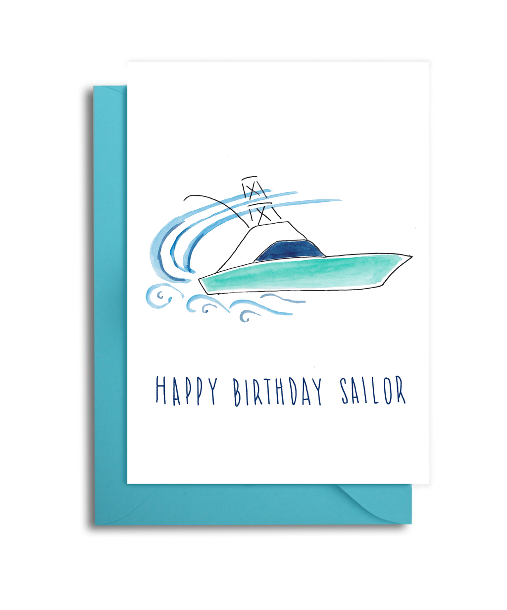 Sport Fisher Boat Birthday Card