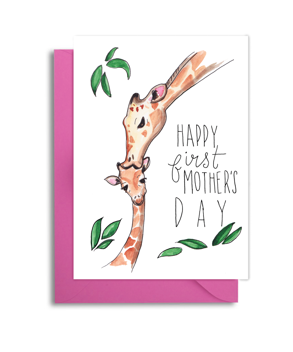 Giraffe Mom and Baby First Mother's Day Card