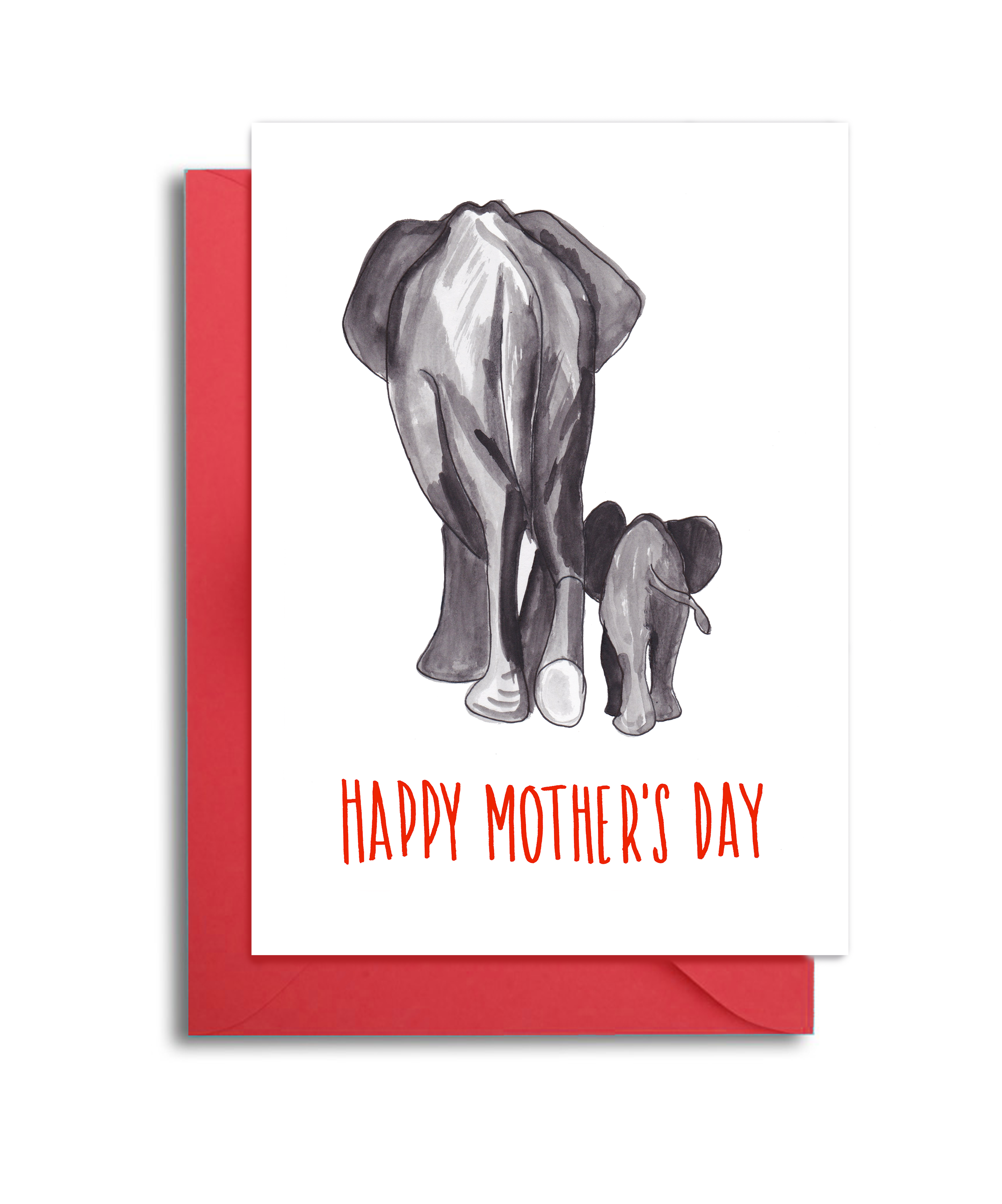 Mom and Baby Elephant Card