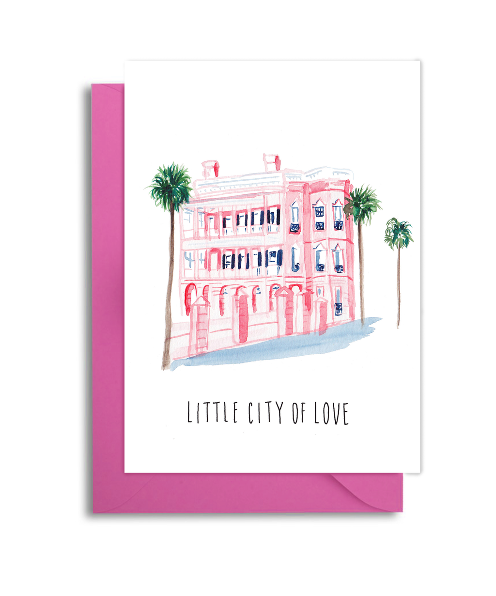 Charleston Pink House Card