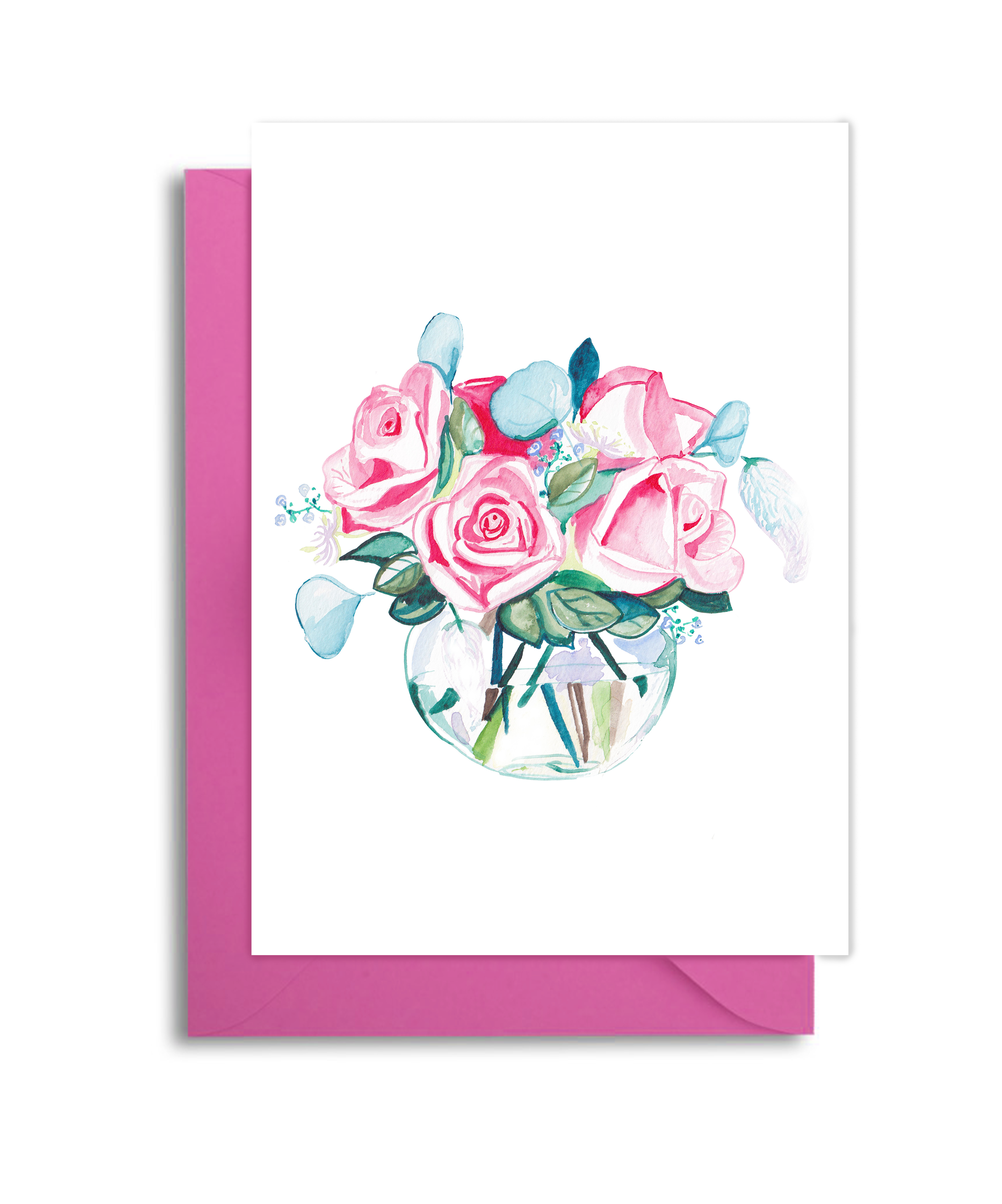 Pink Rose Bouquet Card
