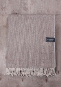 Natural Herringbone Recycled Wool Blanket