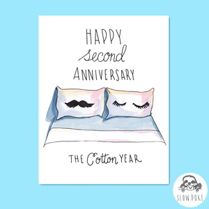 Second Wedding Anniversary Cotton Year Card