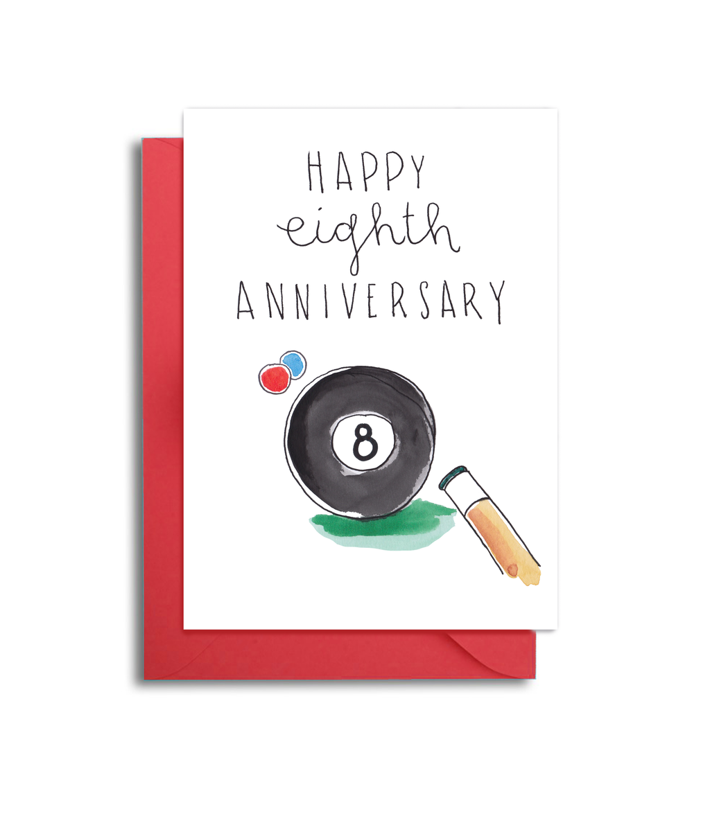 Eighth Wedding Anniversary Card - 8th Anniversary Husband Card - Billiards Themed Anniversary Card - Bowling Themed Anniversary