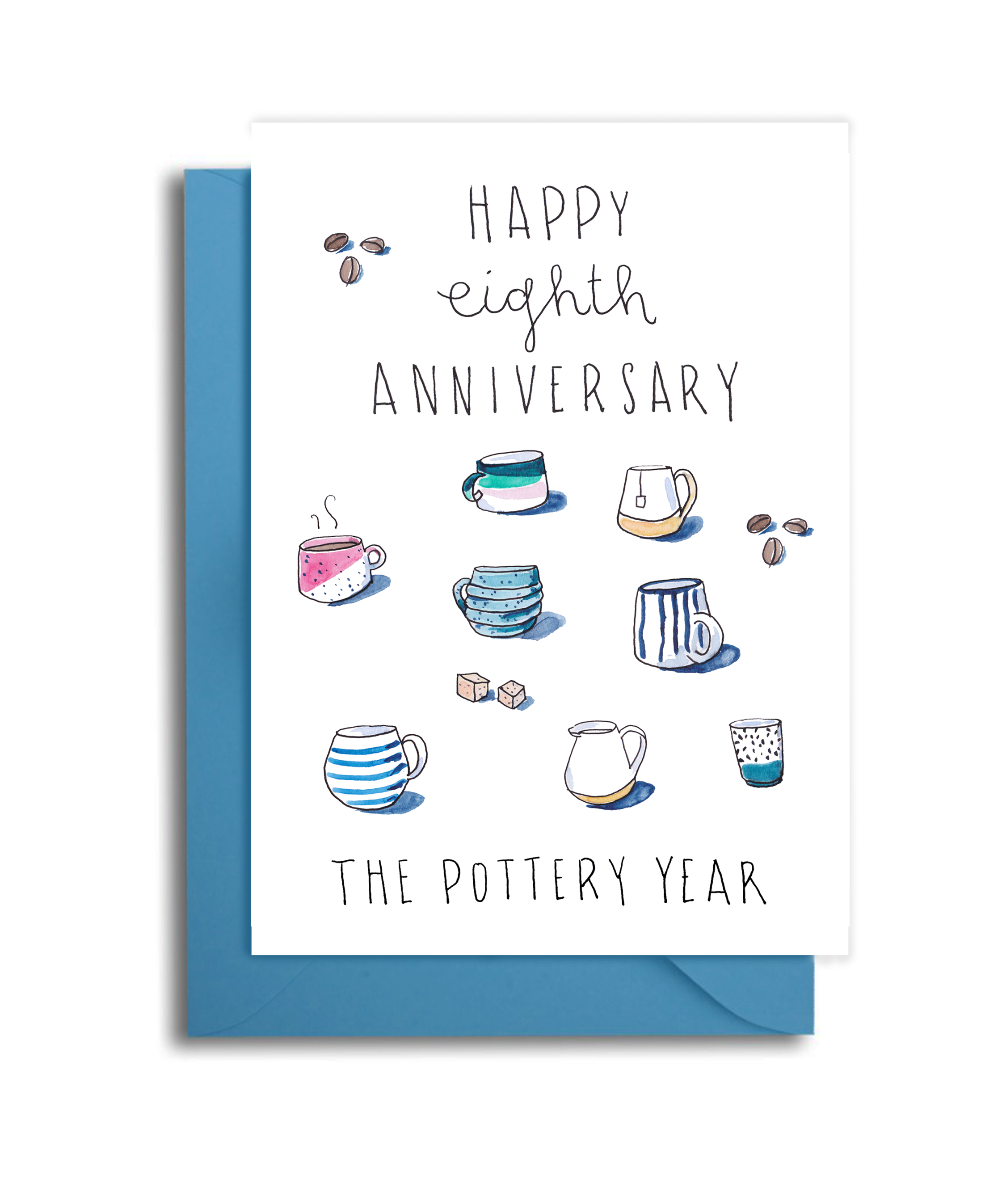 8th Wedding Anniversary Card - Pottery Themed Anniversary Card - 9th Anniversary Pottery Themed Card