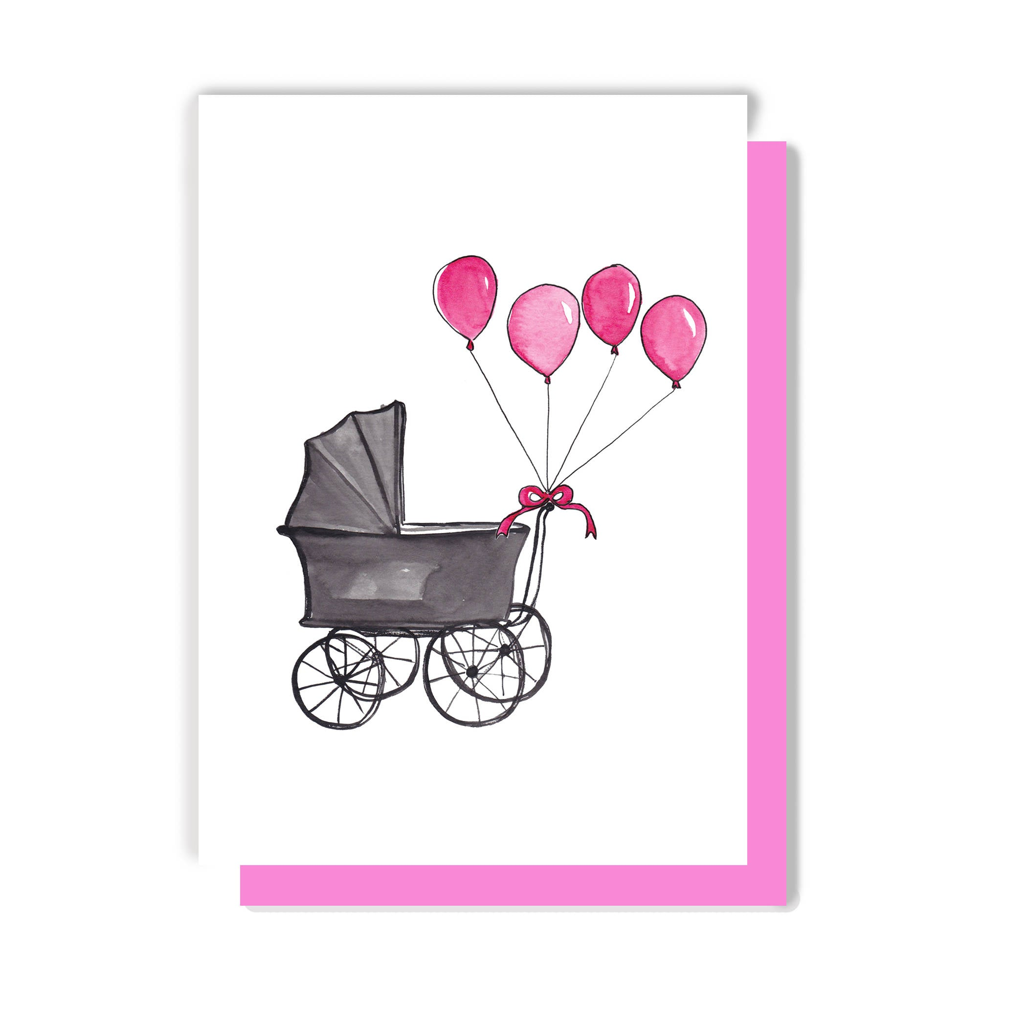 Pram with Balloons New Baby Card
