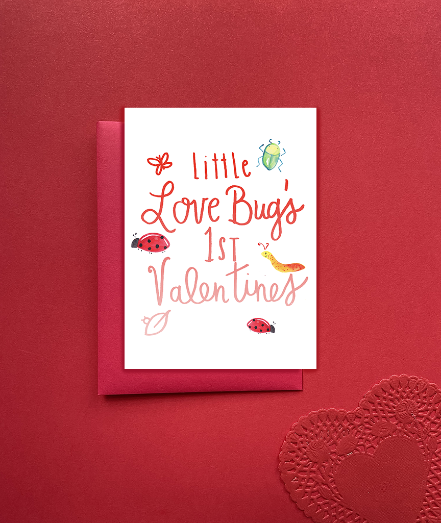 Little Love Bug's First Valentine's Day Card - Baby's 1st Valentine's Day