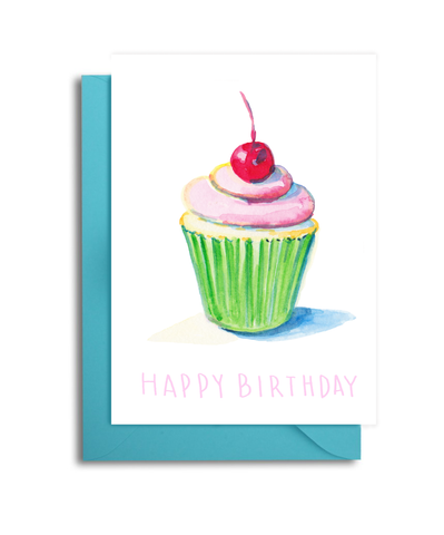 Cherry Cupcake Birthday Card