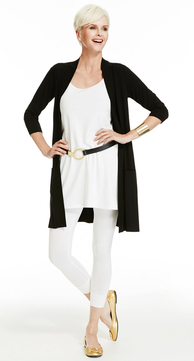 6973 - Easy Fit Pocketed 3/4 Sleeve Cardigan