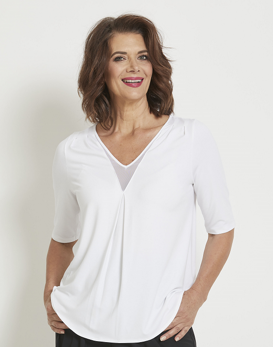 8165 - Tuck Shoulder V Neck 1/2 Sleeve Top