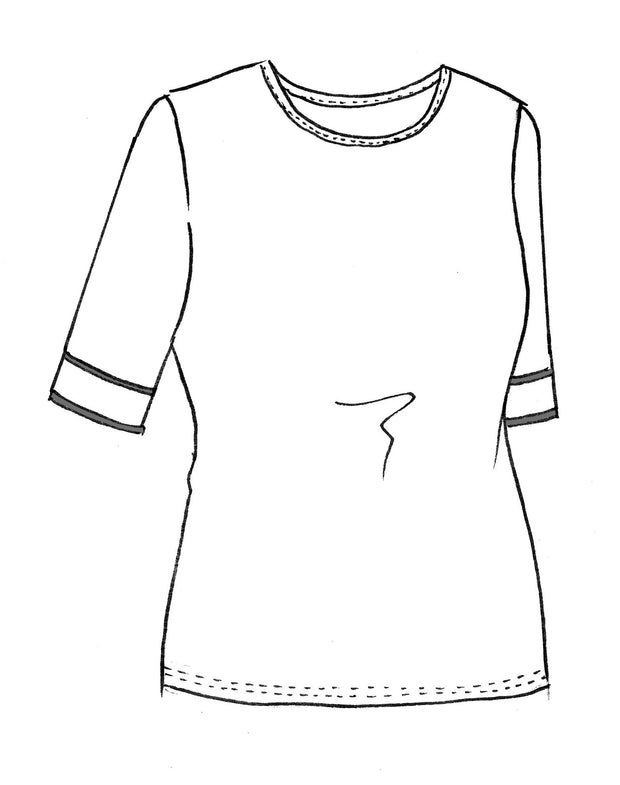 8262 - Crew Neck Top with Binding Trim Cuff