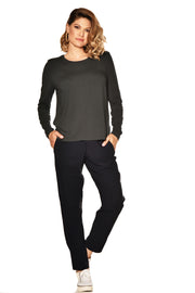 6180 - Easy Fit Long Sleeve Panel Front Top