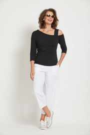 8202 - Asymmetric Neck Top