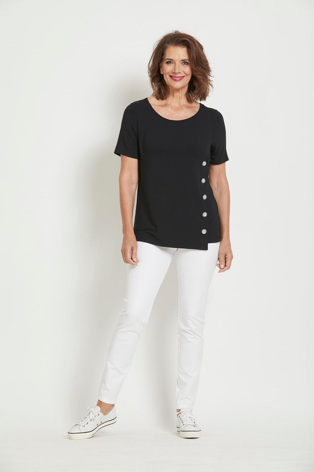 8259 - Side Button Scoop Neck Short Sleeve Top