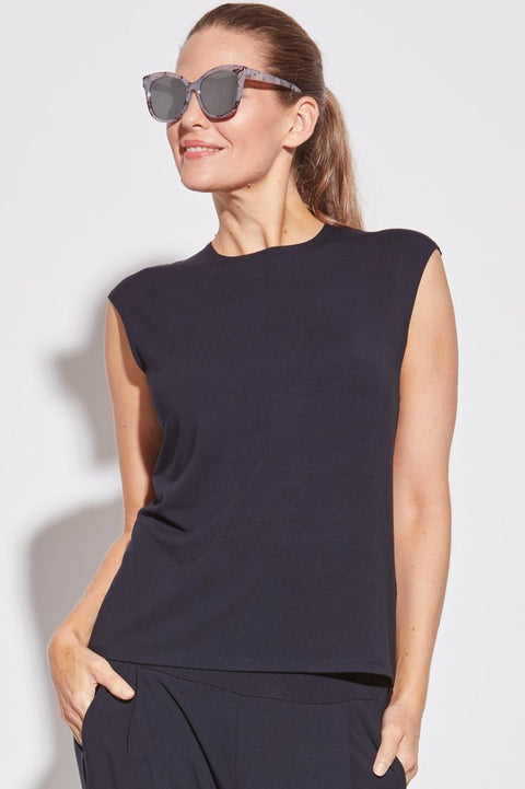 7839 - Easy Fit Cap Sleeve Crew Neck Top