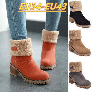 Plus Size 34-43 Women Fashion Boots Winter Boots Shorts Boots Fur Warm Square Snow Boots -  THE EASY LOVE SHOPPE