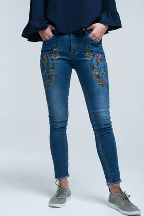 Blue skinny jean with embroideries -  THE EASY LOVE SHOPPE