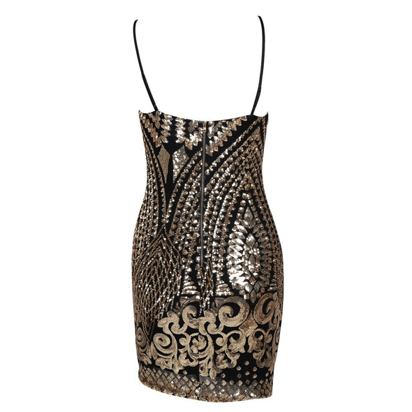 Black Sequin Halter Dress